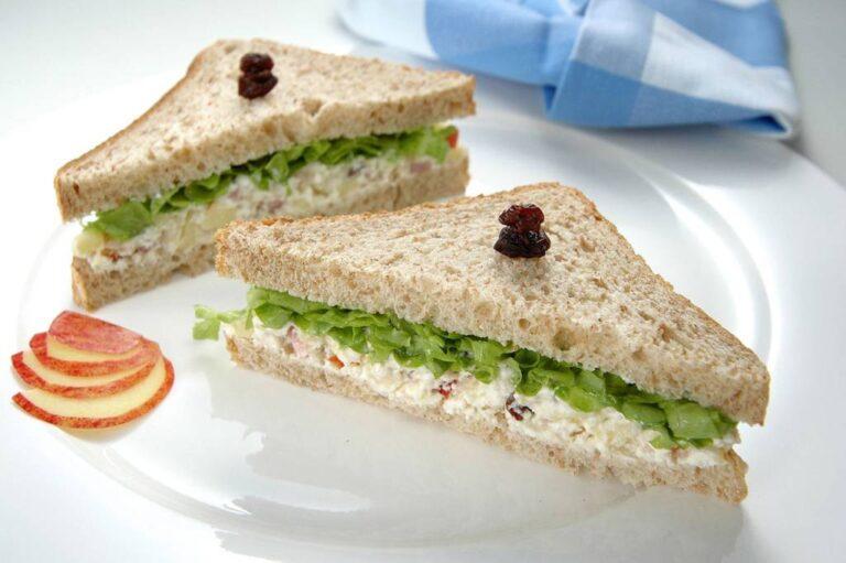 prato com sanduíche de patê com alface, com uvas passas espetadas sobre o pão de forma, guardanapo xadrez azul desfocado no fundo, fatias de maçã na lateral do prato