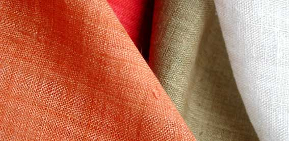 composição de 4 tecidos nas cores, laranja, vermelho, bege e branco