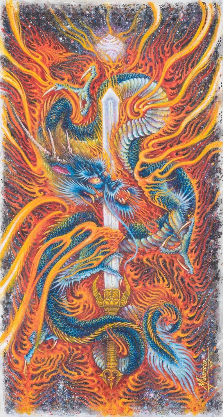 com traço oriental, pintura do artista e tatuador Maurício Teodoro, possui no centro da tela uma espada envolta por um dragão fumegante