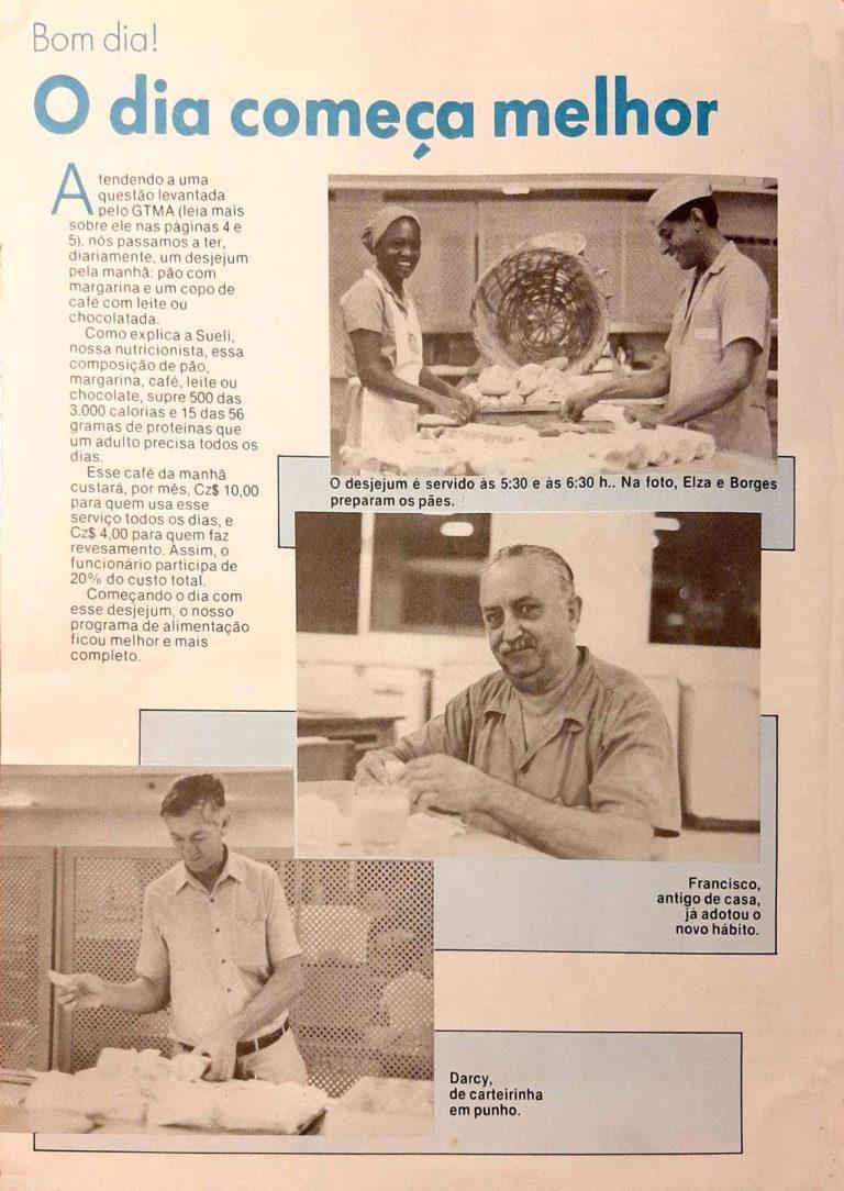 pagina do Jornal da empresa com matéria escrita e imagens referente ao novo desjejum que será servido na empresa